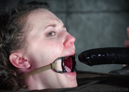bonnie day just figured out how long, and hard and fat the dildo is that her dom is shoving down her throat