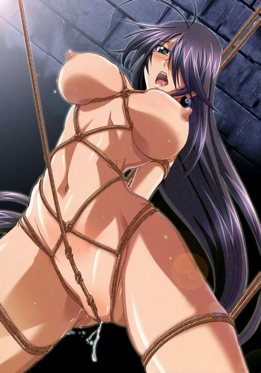 cartoon anime girl riding the knotted pussy ropes