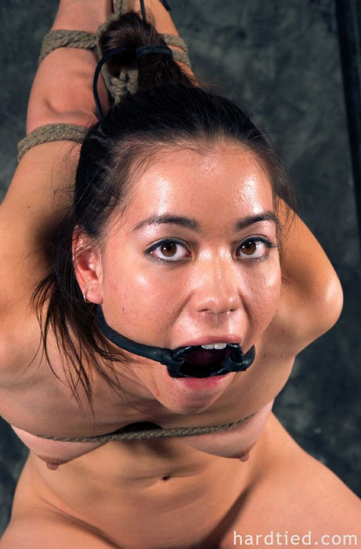 roped and ring gagged for a painful bondage blowjob