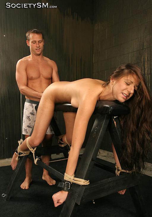 girl on a sawhorse being ravished from behind