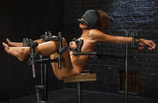 serena ali gagged and blindfolded in the iron bondage rack