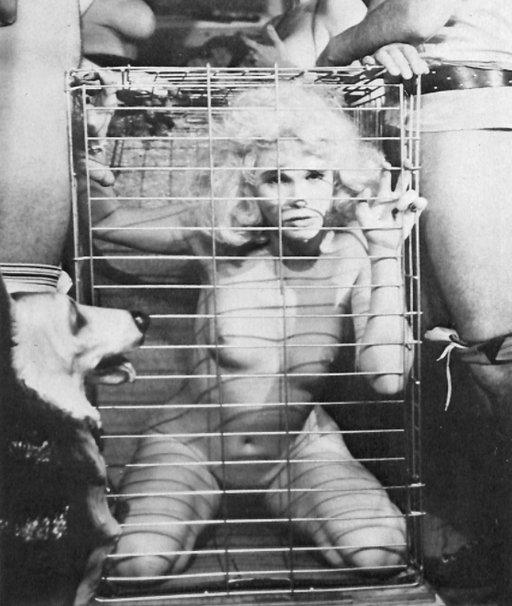 serena in a dog crate