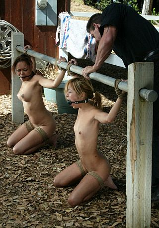 blow job slavegirls tied to the hitching post cum blowjob bar