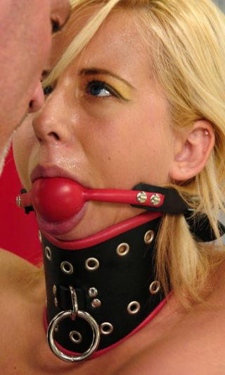 pretty bondage blonde sweating over her gag