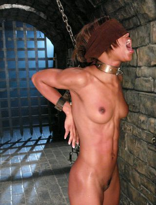 Marie Luv in chains giving wet sticky blindfolded blowjob