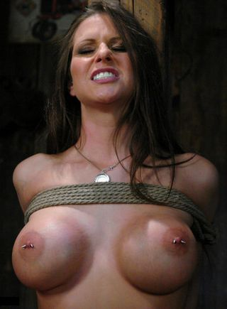 rachel roxx and her beautiful bare breasts in bondage