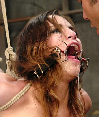 spider gagged girl drooling cum after a bondage blowjob