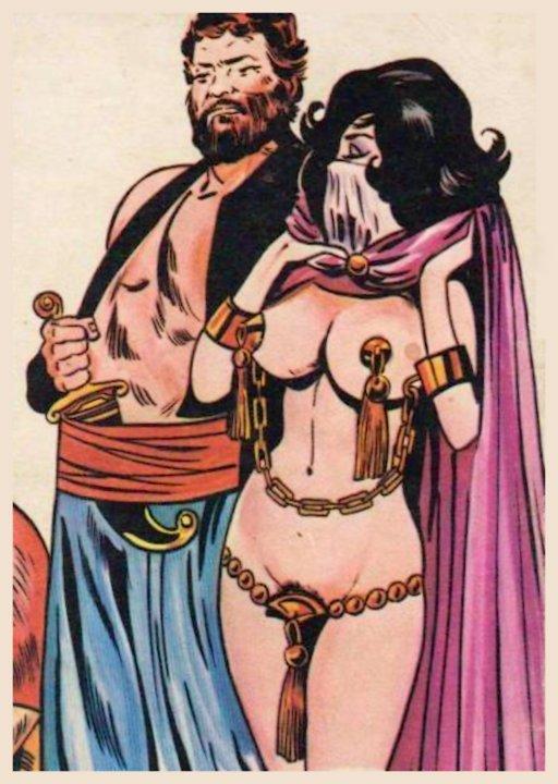 smug harem master with shackled and veiled harem girl