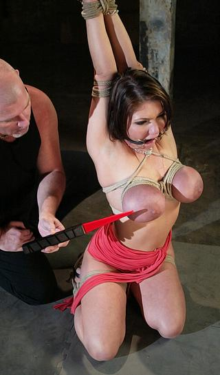 bondage tit torture with electricity