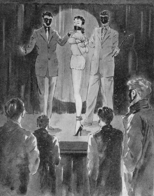 gagged willie slave girl in heels being auctioned by masked slavers