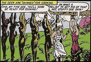 bunch of girls in deer suits strung up to be butchered and cooked