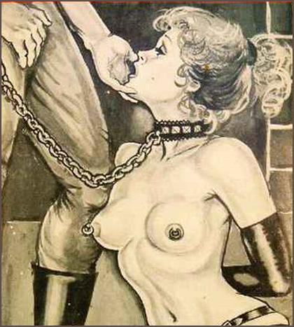 leashed and collared slave girl art