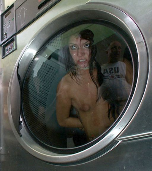 sticky gangbang slave about to go for a ride in the dryer