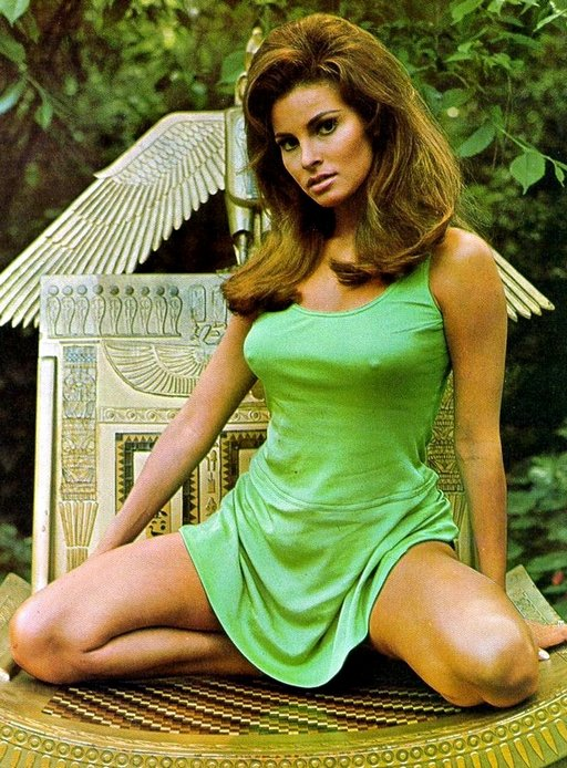 Raquel Welch kneeling well