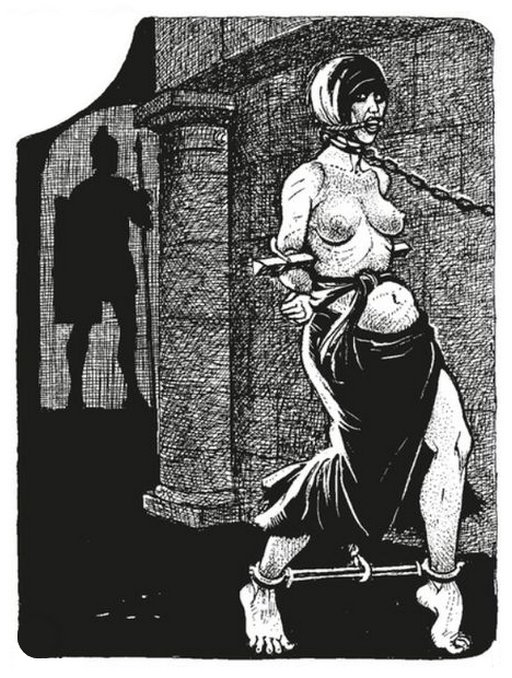 very strictly chained slave girl being led through dark city streets