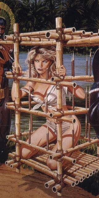 slave woman in bamboo cage