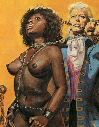 chained black slave woman in the clutches of a nobleman