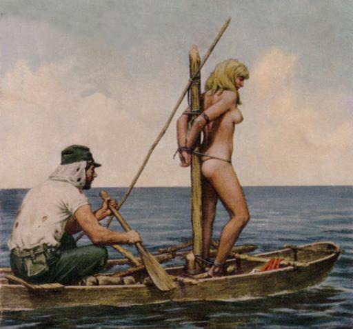 boat bondage - image from cover art by Col Cameron on a book called Blood Island by John Slater