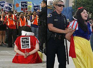 snow white in plastic handcuffs