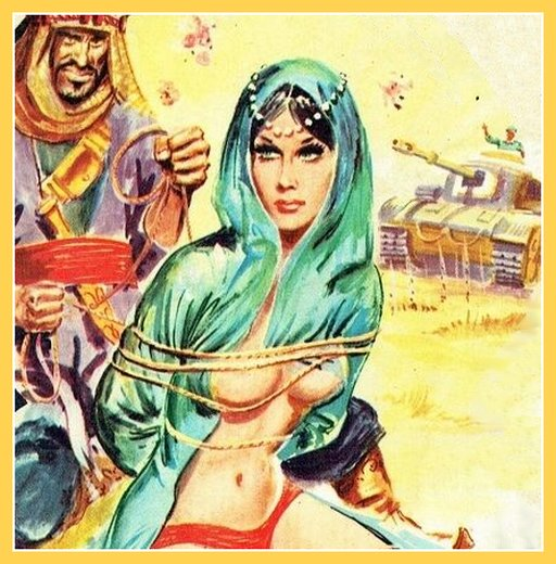Arab or Bedouin warrior takes a pretty harem slave captive in an exciting pulp magazine tank battle