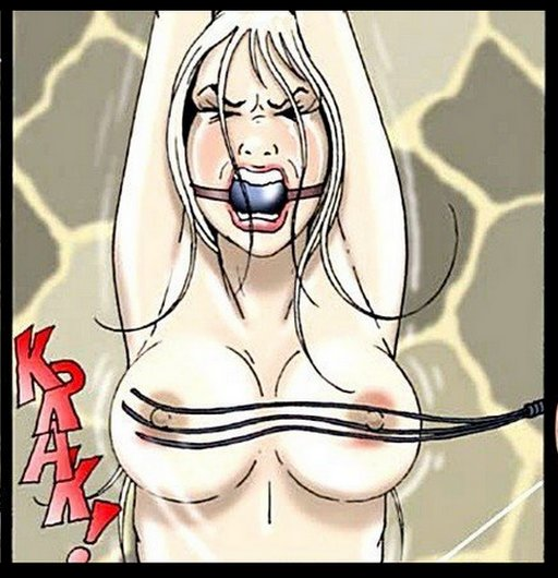 tightly gagged so she can't scream very loud while her nipples are whipped