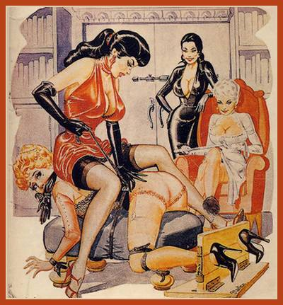 Three women dominate a fourth who is in bondage