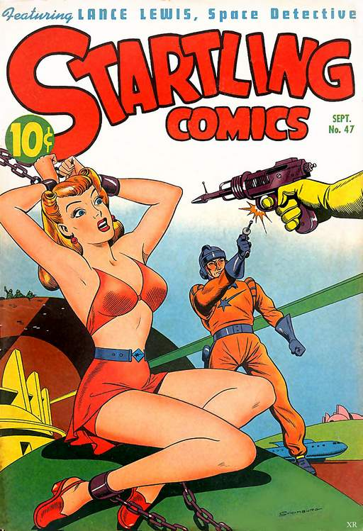 comic book shackles and laser guns
