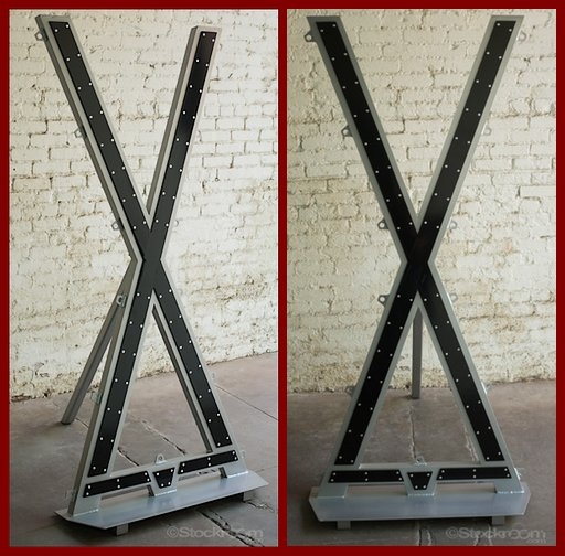 Saint Andrew's Cross bondage frame made out of aluminium