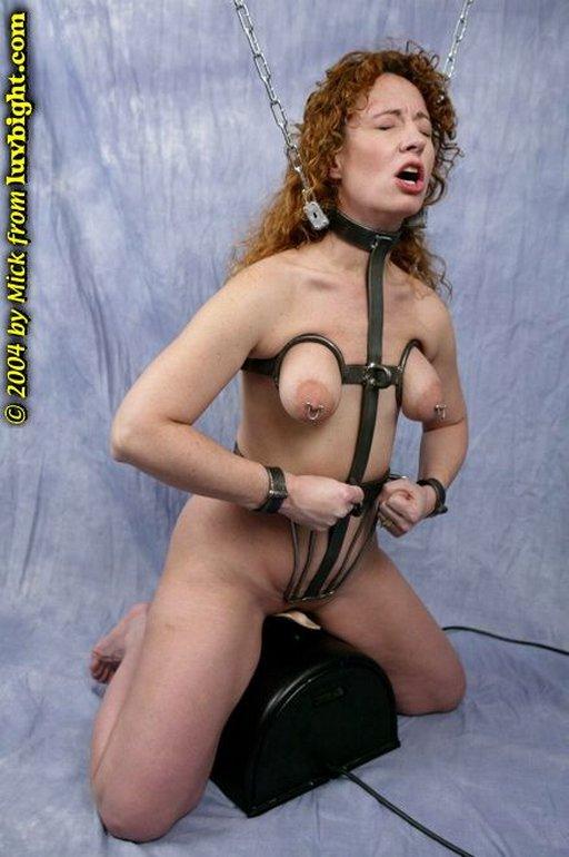 forced orgasm in a steel body harness