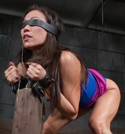 kalina with a sticky face after giving a bondage blowjob
