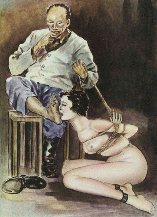 Japanese bondage foot fetish art: tied up woman forced to lick his smelly feet