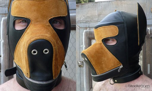 dog face bondage hood and muzzle