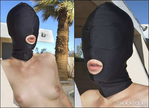spandex mouth-hole hood for blowjobs and forced BDSM dick sucking