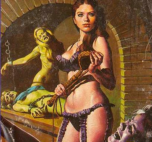 whip woman in her dungeon with three whippees