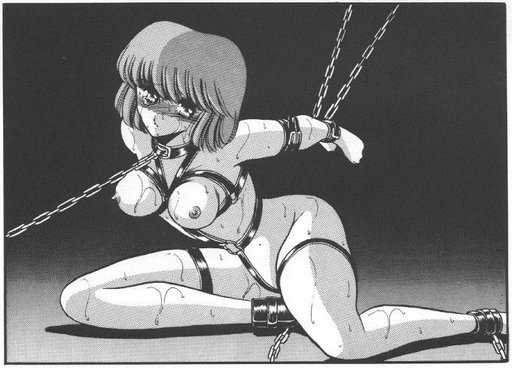 manga girl in sweaty bondage harness