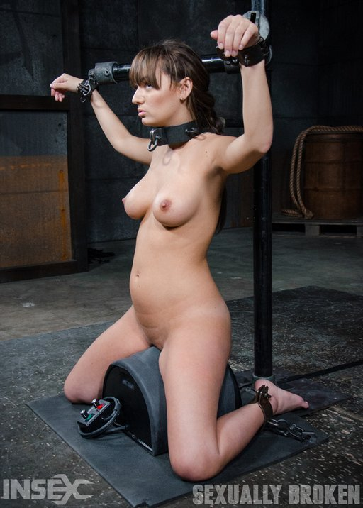 Charlotte Cross chained to a Sybian