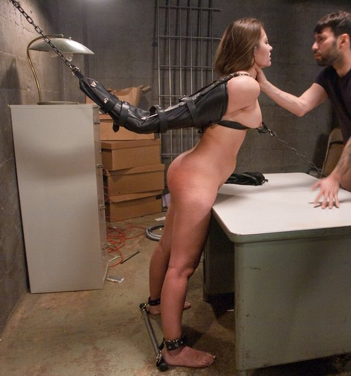 Dani Daniels stripped and tied naked over a desk for sexual torment and punishment