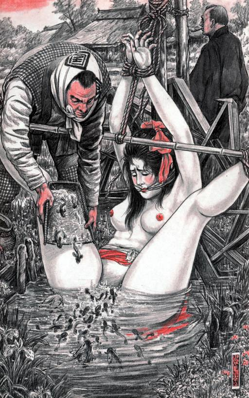 bondage woman being tormented with squirmy wriggly things