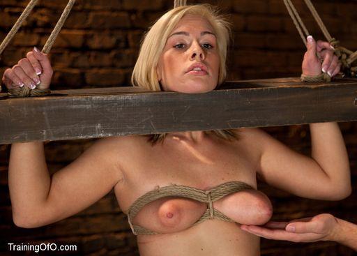 Tara Lynn Fox in a heavy wooden bondage yoke