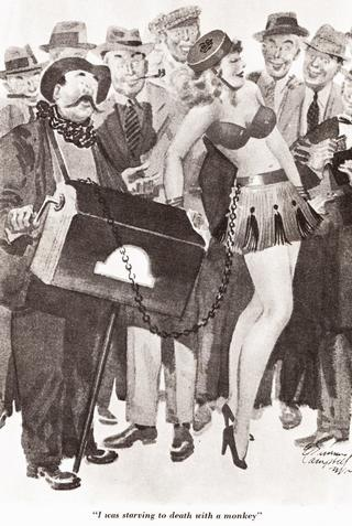organ grinder with a dancing girl on a chain