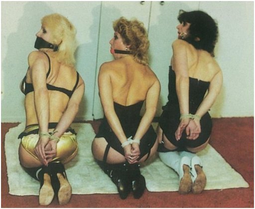 three kneeling gagged housewives