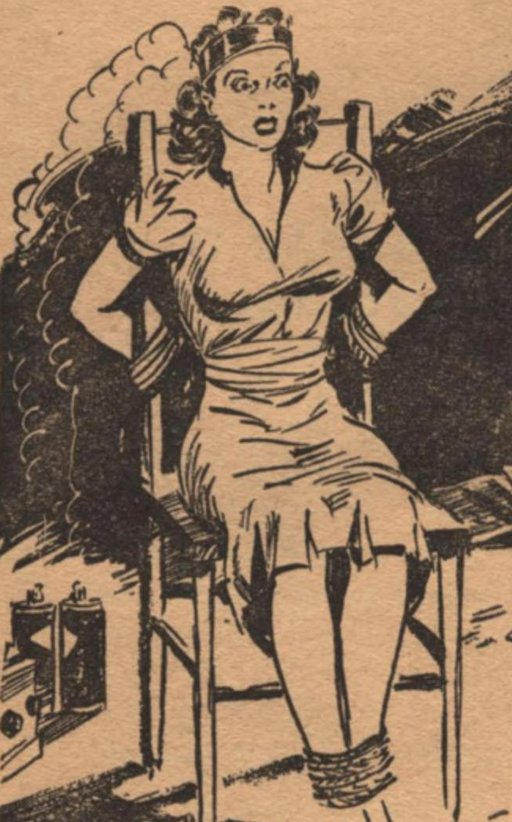 pulp art of woman tied to chair with battery-powered electrified metal band around her head