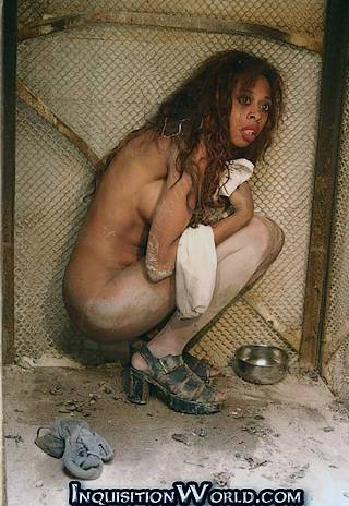 naked in a girl kennel