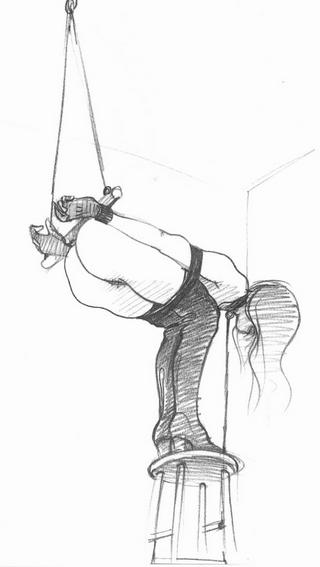bondage girl on stool