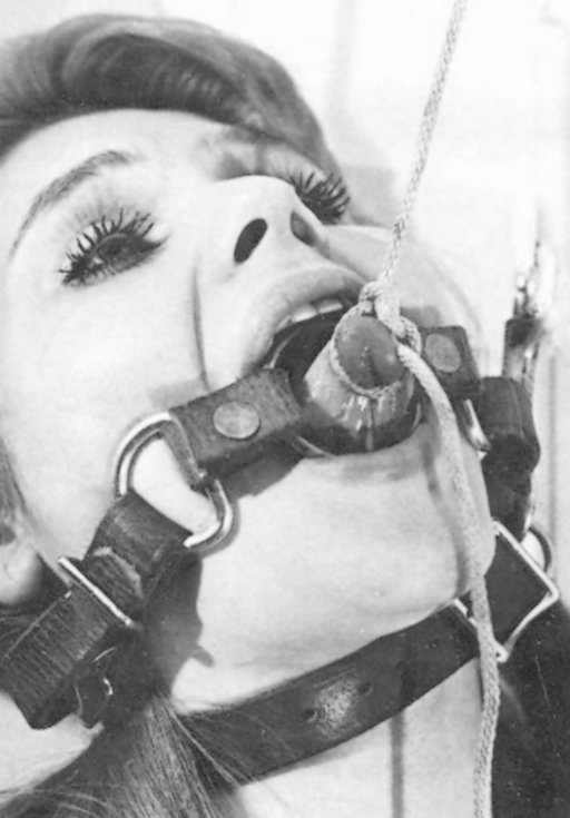 ring gagged and her tongue painfully tied up with clothesline