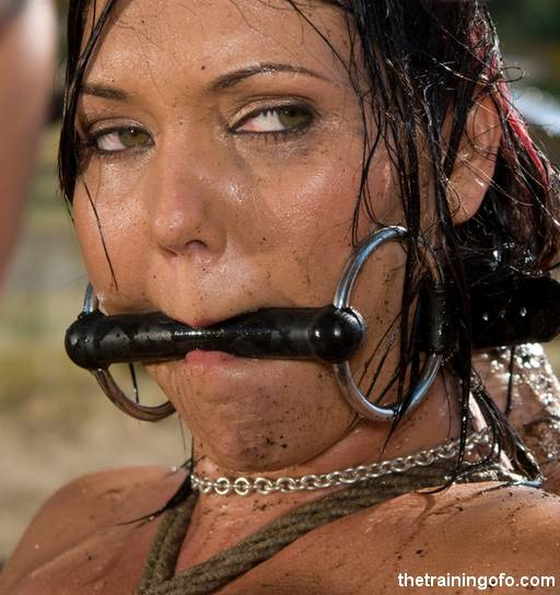 severe bit gag for a muddy and well used pony slave