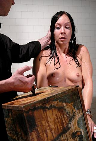 slavegirl faces bondage head box