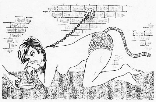 pissed-off cat girl on a leash in a dungeon wearing a tail with leopard panties and refusing nasty rotten fish scraps kitty chow