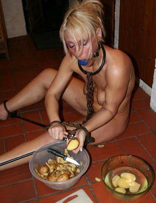 slave girl peeling potatoes