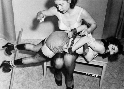 hairbrush spanking for a vintage bound women